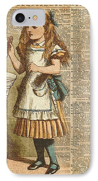 Print iPhone 8 Case - Alice In Wonderland Drink Me Vintage Dictionary Art Illustration by Anna W