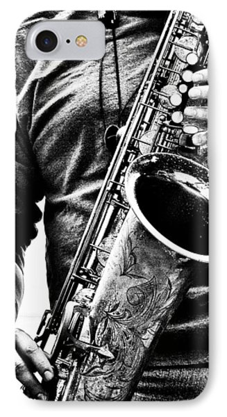 Saxophone iPhone 8 Case - All Blues Man With Jazz On The Side by Bob Orsillo