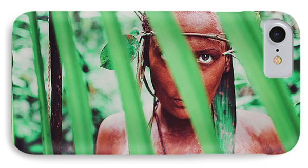 Amazonian Goddess Portrait Of A Wild Looking, Camouflaged Warrior Girl Holding Bow And Arrow IPhone Case