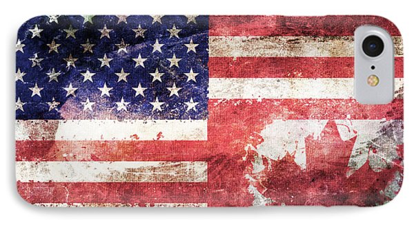American Canadian Tattered Flag IPhone Case