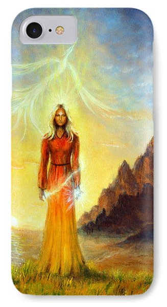 An Enchanting Mystical Priestess With A Sword Of Light In A Land IPhone Case