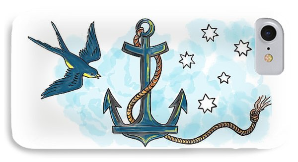 Anchor Swallow Southern Star Tattoo IPhone Case