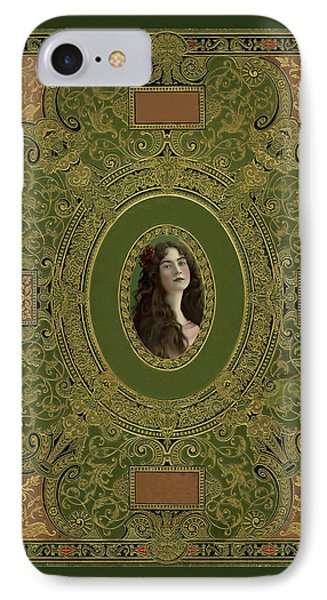 Antique Book Cover With Cameo - Green And Gold IPhone Case