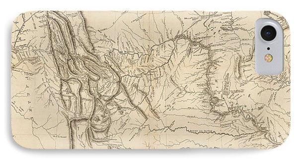Antique Map - Lewis And Clark's Track Across North America IPhone Case
