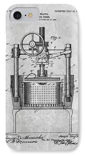 Antique Wine Press Patent IPhone Case