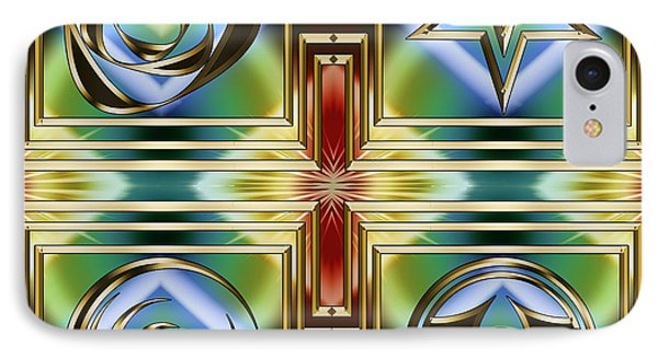 IPhone Case featuring the digital art Art Deco 4 Panel by Chuck Staley