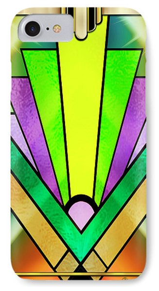 IPhone Case featuring the digital art Art Deco Chevron 3 V by Chuck Staley