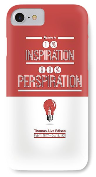 Thomas Alva Edison Quote Typography Print Poster IPhone Case