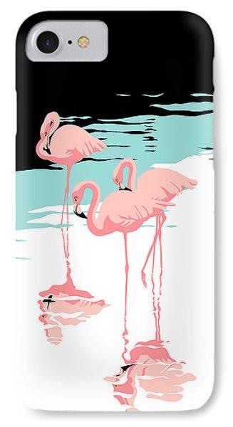 Pink Flamingos Tropical 1980s Abstract Pop Art Nouveau Graphic Art Retro Stylized Florida Print IPhone Case