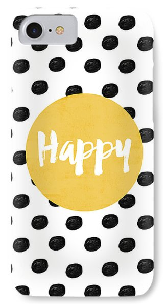 White iPhone 8 Case - Happy Yellow And Dots by Allyson Johnson