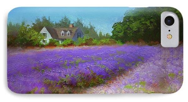 Impressionistic Lavender Field Landscape Plein Air Painting IPhone Case