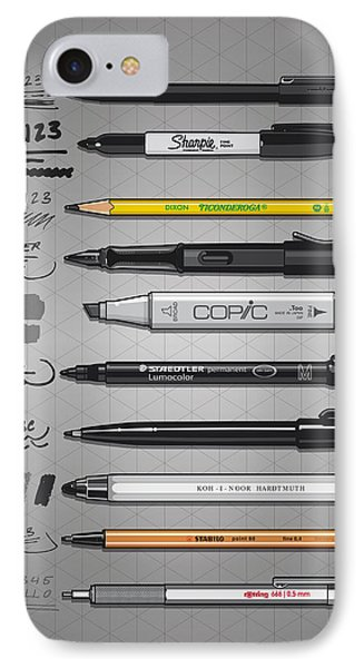 Pen Collection For Sketching And Drawing IPhone Case