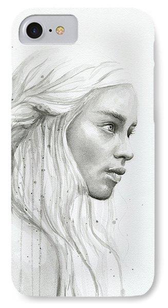 Dragon iPhone 8 Case - Daenerys Watercolor Portrait by Olga Shvartsur