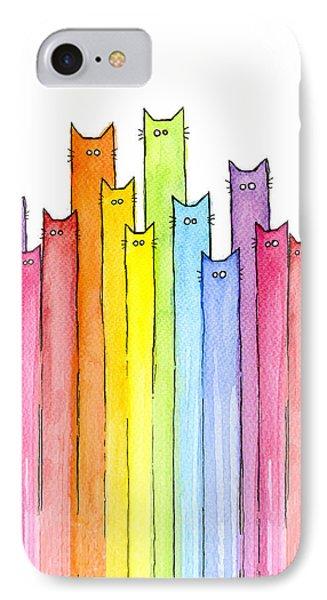 Print iPhone 8 Case - Cat Rainbow Watercolor Pattern by Olga Shvartsur