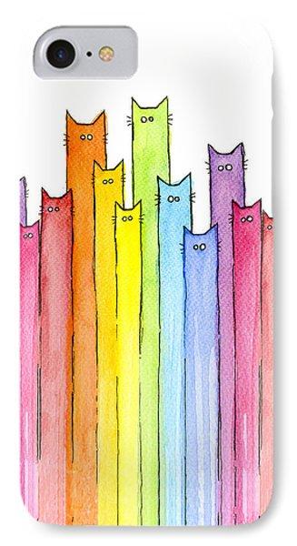 Animals iPhone 8 Case - Cat Rainbow Watercolor Pattern by Olga Shvartsur
