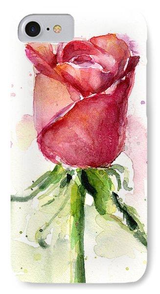 Rose iPhone 8 Case - Rose Watercolor by Olga Shvartsur
