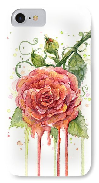 Rose iPhone 8 Case - Red Rose Dripping Watercolor  by Olga Shvartsur