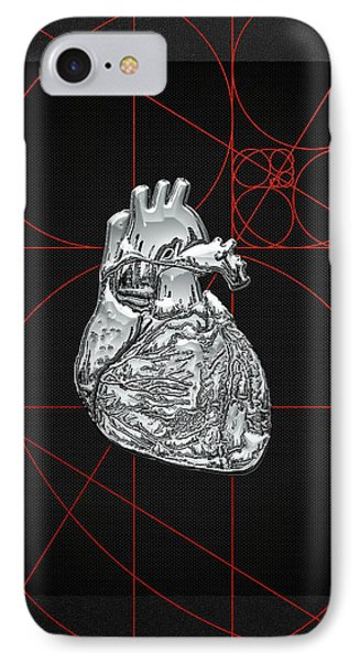 Silver Human Heart On Black Canvas IPhone Case