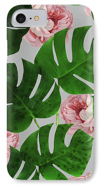 Monstera Rose Pattern IPhone Case