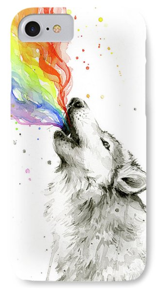 Whimsical iPhone 8 Case - Wolf Rainbow Watercolor by Olga Shvartsur