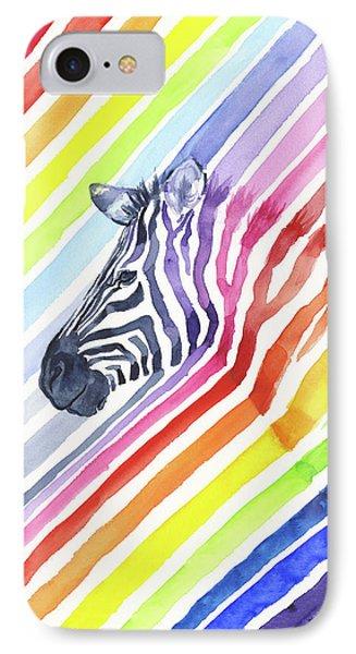 Whimsical iPhone 8 Case - Rainbow Zebra Pattern by Olga Shvartsur