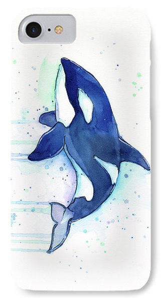 Whimsical iPhone 8 Case - Kiler Whale Watercolor Orca  by Olga Shvartsur