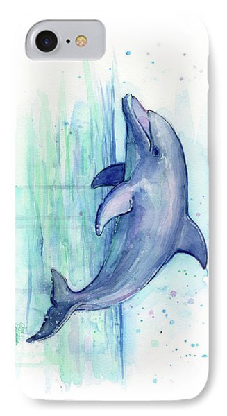 Whimsical iPhone 8 Case - Dolphin Watercolor by Olga Shvartsur