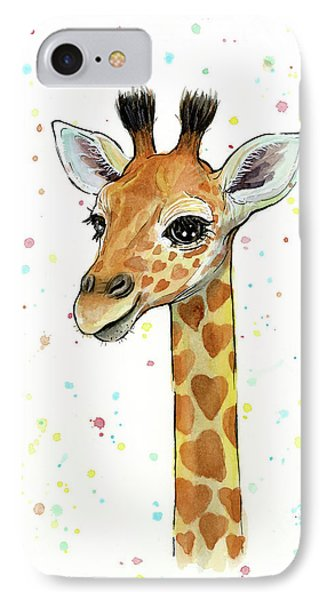 Whimsical iPhone 8 Case - Baby Giraffe Watercolor With Heart Shaped Spots by Olga Shvartsur