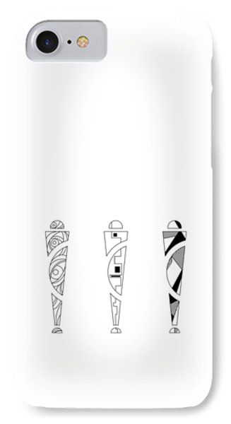 Trio. Art Nouveau Black/white Mix Fill. IPhone Case
