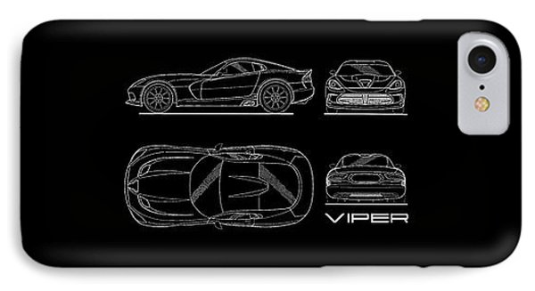 Srt Viper Blueprint IPhone Case