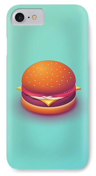 iPhone 8 Case - Burger Isometric - Plain Mint by Ivan Krpan