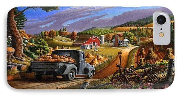 Autumn Appalachia Thanksgiving Pumpkins Rural Country Farm Landscape - Folk Art - Fall Rustic IPhone Case