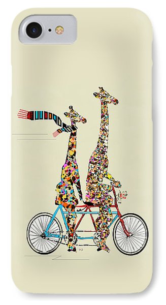 Transportation iPhone 8 Case - Giraffe Days Lets Tandem by Bri Buckley