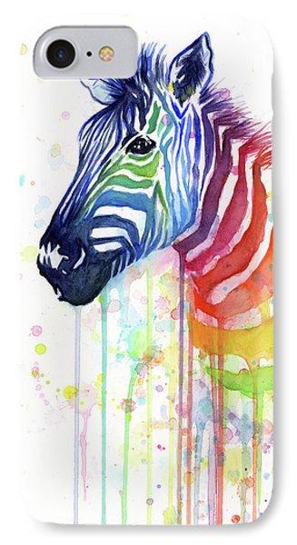 Animals iPhone 8 Case - Rainbow Zebra - Ode To Fruit Stripes by Olga Shvartsur