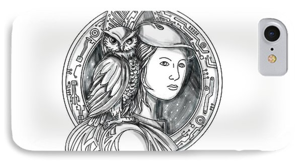 Athena With Owl On Shoulder Electronic Circuit Circle Tattoo IPhone Case