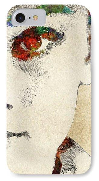 Audrey Half Face Portrait IPhone Case