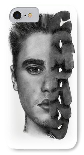 Justin Bieber Drawing By Sofia Furniel IPhone Case