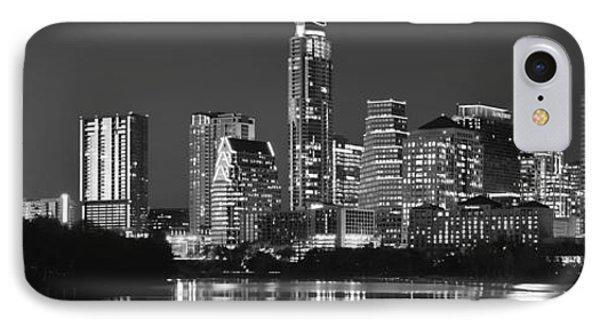 Austin Skyline At Night Black And White Bw Panorama Texas IPhone Case