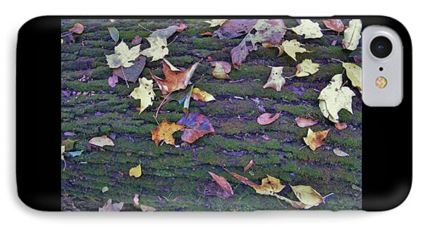 Autumn Leaves And Moss On Log   Indiana IPhone Case