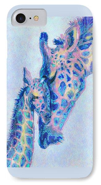 Baby Blue  Giraffes IPhone Case