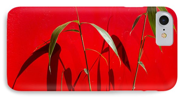 Bamboo Against Red Wall IPhone Case