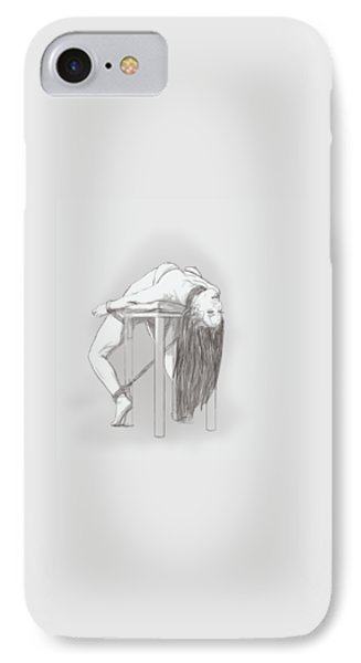 IPhone Case featuring the mixed media Bar Chair Bw by TortureLord Art