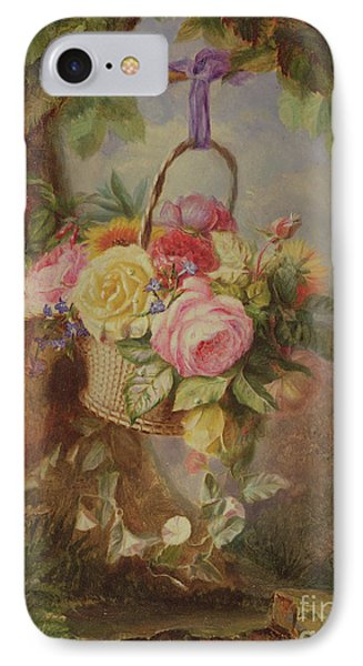 Basket Of Roses With Fuschia, 19th Century IPhone Case