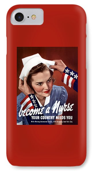 Become A Nurse -- Ww2 Poster IPhone Case