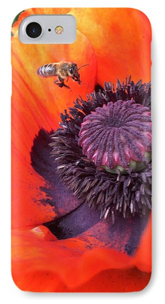 iPhone 8 Case - Bee Is Visiting A Poppy by Orphelia Aristal