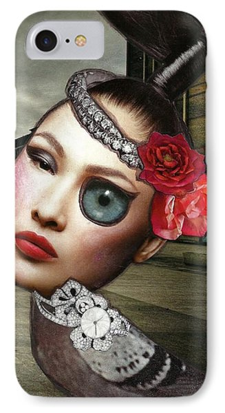 Mixed Media Collage Bejeweled Pigeon Lady IPhone Case