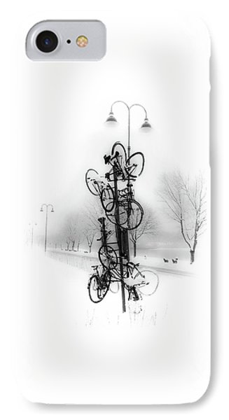 Bicycle Lamppost In Winter IPhone Case