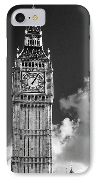 Big Ben And Clouds Bw IPhone Case