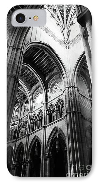 Black And White Almudena Cathedral Interior In Madrid IPhone Case