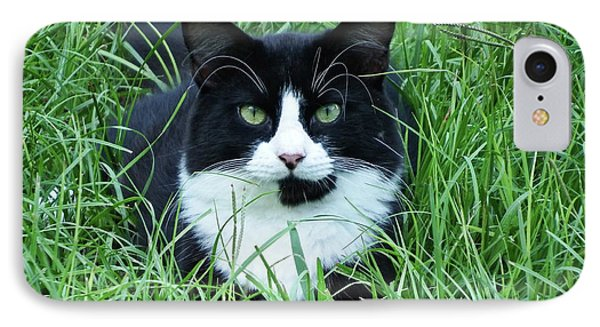 Black And White Cat With Green Eyes IPhone Case